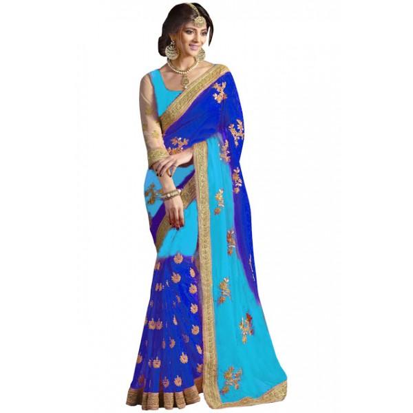 Kreckon 60gm Padding Georgette Sky Blue & Blue Designer Saree