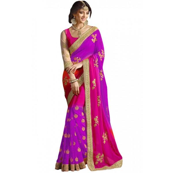 Kreckon 60gm Padding Georgette Purple & Rani Pink Designer Saree