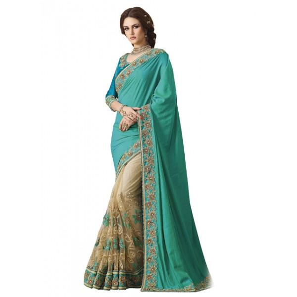 Kreckon Banarasi Silk Georgette With Nylon Net Rama Green & Cream Saree