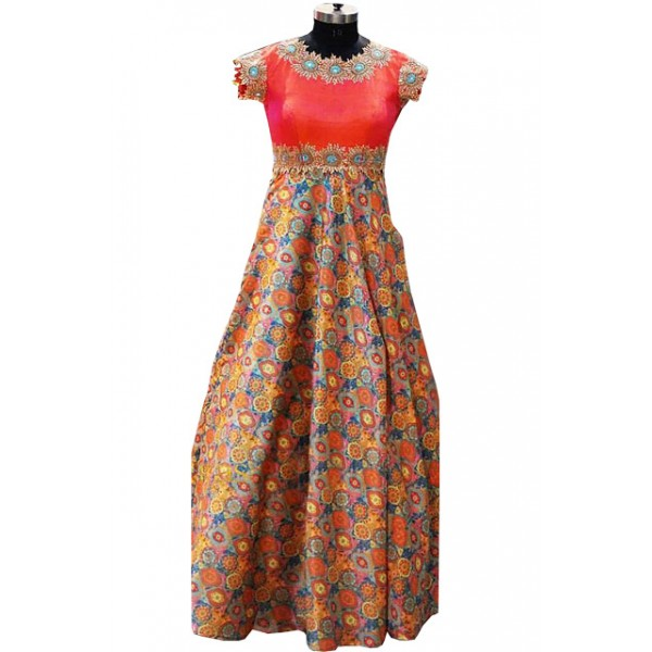 Kreckon Banglori Silk With Japan Crepe Multi Color Replica Gown