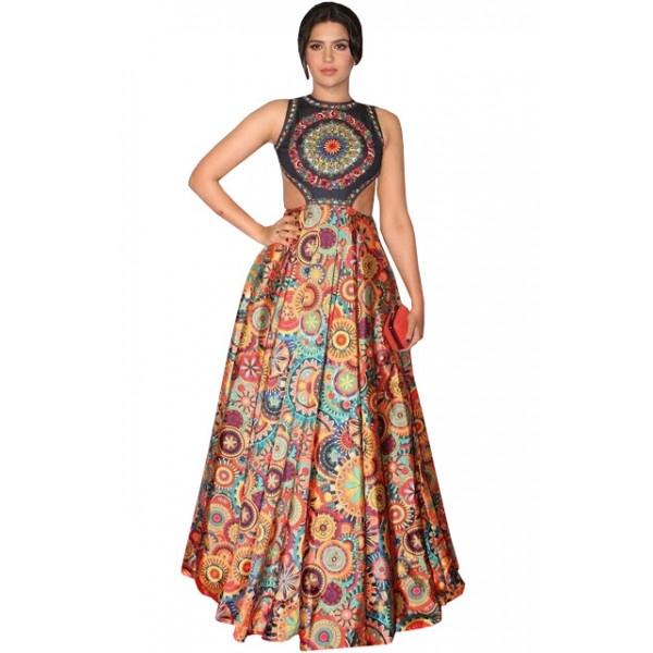 Kreckon Banglori Silk With Japan Crepe Multi Color Long Replica Gown