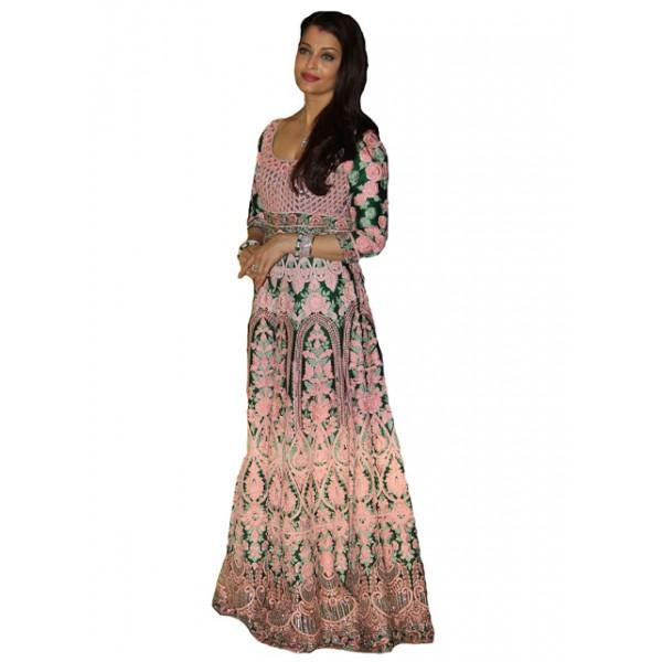 Kreckon Aishwarya Pink & Green Designer Gown With Abhishek