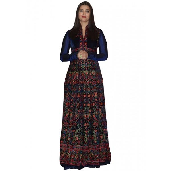 Kreckon Aishwarya Rai Dark Blue Velvet With Banglori Silk Long Gown