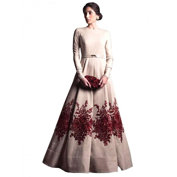 Kreckon Banglori Silk Light Pink Long Gown