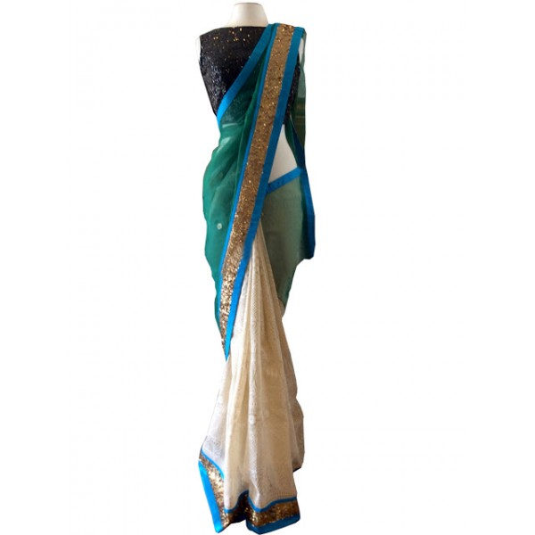 Kreckon Aqua Green & Cream Georgette With Nylon Net Saree
