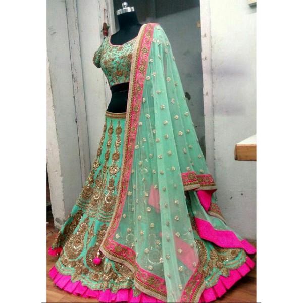 Kreckon Banglori Silk Light Green Designer Lehenga Choli
