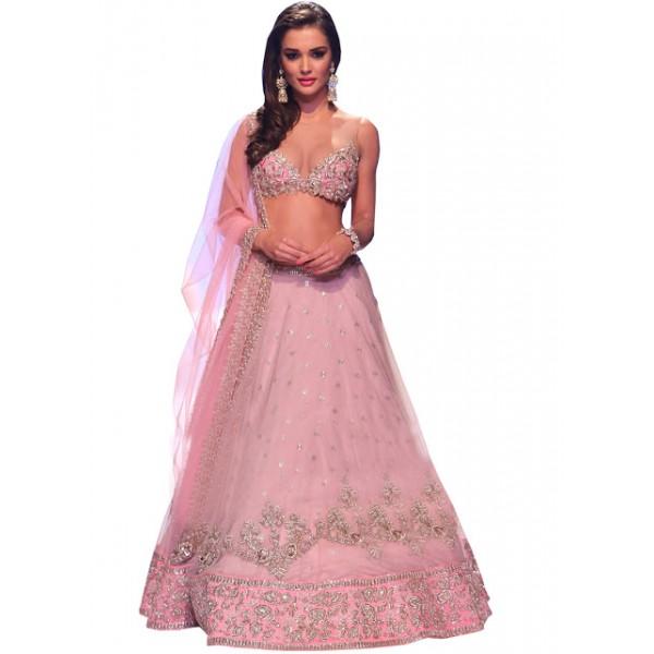 Kreckon Amy Jackson Pink Nylon Net Bollywood Lehenga Choli