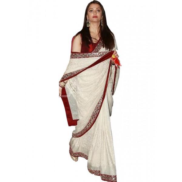 Kreckon Aishwarya Rai Georgette White & Maroon Bollywood Saree