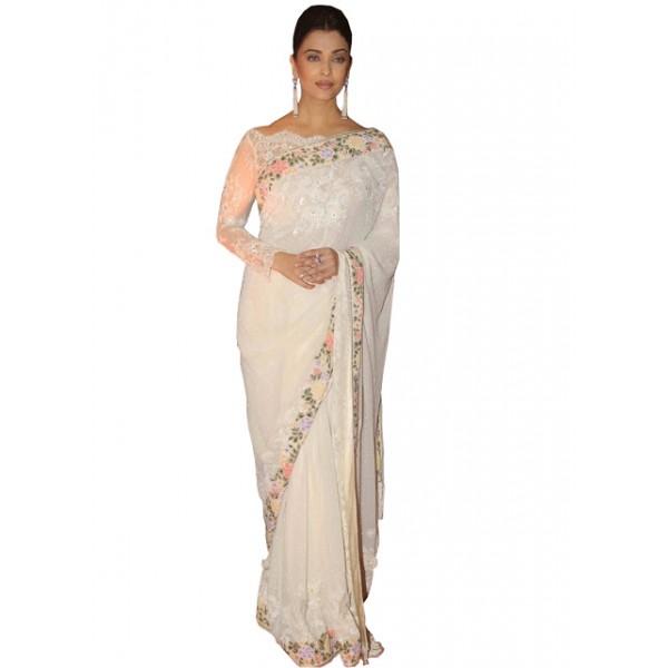 Kreckon Aishwarya Rai Georgette White Bollywood Saree