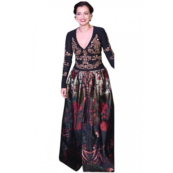 Kreckon Diya Mirza Banglori Silk With Georgette Black Long Replica Gown