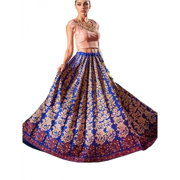Kreckon Banglori Silk Blue & Peach Replica Lehenga Choli