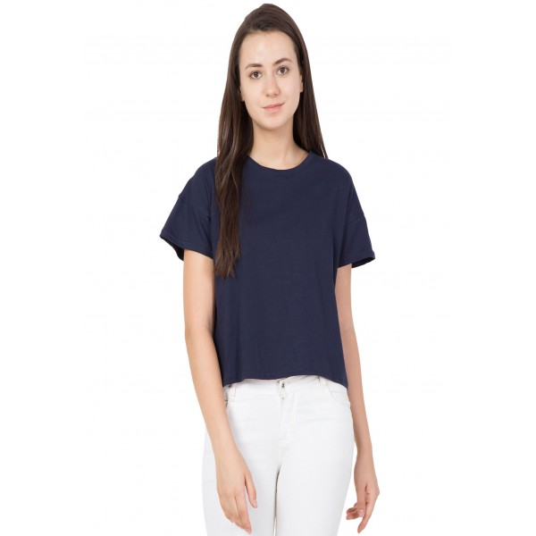 American-Elm Women Blue Cotton Round Neck Half Sleeve Short Top