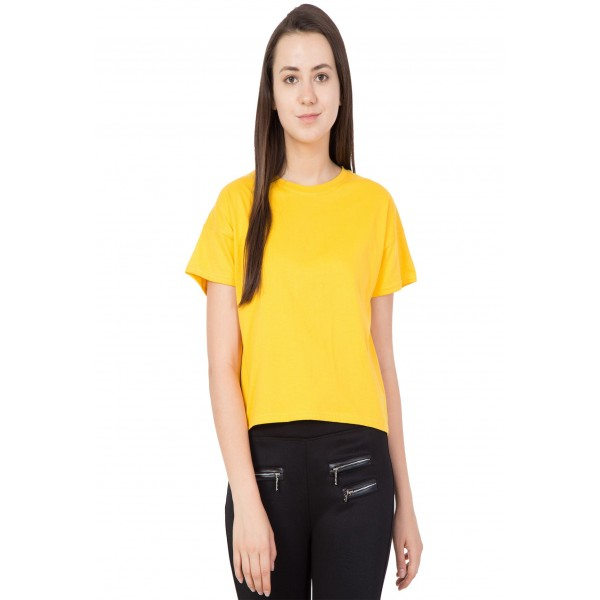 American-Elm Women Yellow Round Neck Half Sleeve Crop Top