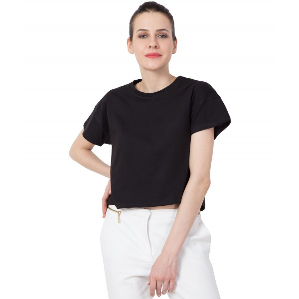 American-Elm Women Black Regular Fit Round Neck Crop Top