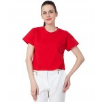 American-Elm Women Red Cotton Regular Fit Solid Top