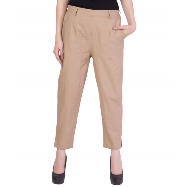 American-Elm Women Beige Cotton Pants
