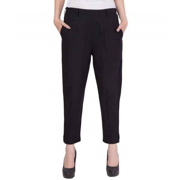 American-Elm Women Black Cotton Pants
