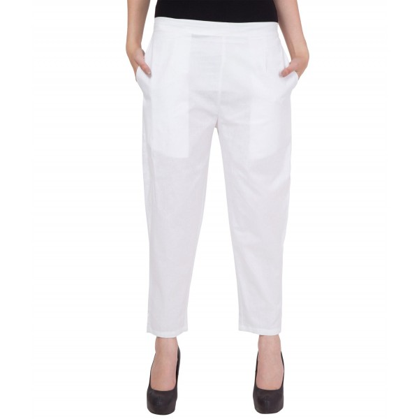 American-Elm Women White Cotton Pants