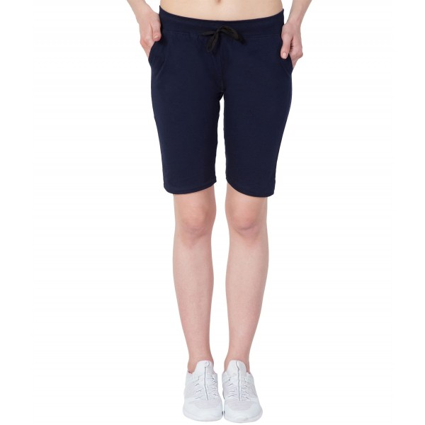American-Elm Navy Blue Solid Cotton Slim Fit Women Capri