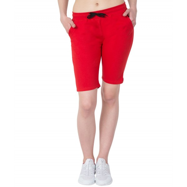 American-Elm Women Comfort To Wear Red Cotton Capri