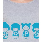 American-Elm Women Light Grey Round Neck Stylish Doll Printed T-Shirt