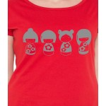 American-Elm Women Red Half Sleeves Cotton Doll Printed T-Shirt