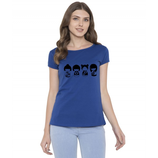 American-Elm Women Royal Blue Half Sleeves Doll Printed T-Shirt