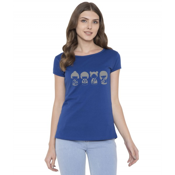 American-Elm Women Royal Blue Round Neck Stylish Doll Printed T-Shirt
