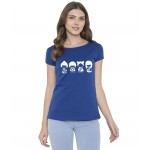 American-Elm Women Royal Blue Half Sleeves Round Neck Cotton Printed T-Shirt